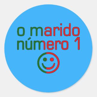 O Marido Número 1 - Number 1 Husband in Portuguese Classic Round Sticker