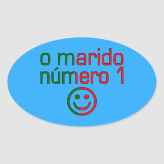 O Marido Número 1 - Number 1 Husband in Portuguese Oval Sticker