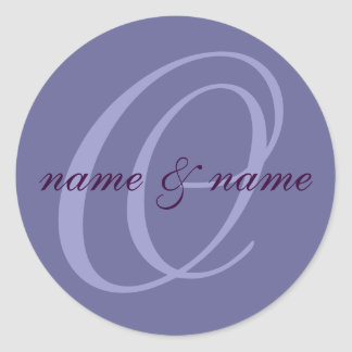 O monogram label - personalize first names classic round sticker