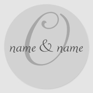 """""""O"""" monogram label, personalize first names Classic Round Sticker"""