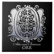"""O Monogram """"Silver Lace on Black"""" with Names Tile"""