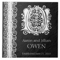 "O Monogram ""White Lace on Black"" Wedding  Tile"