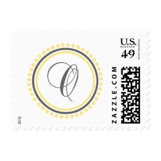 O Monogram (Yellow / Gray Dot Circle) Postage