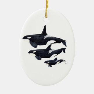 O.orca-fond transparent ceramic ornament