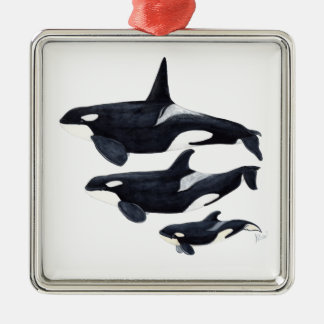 O.orca-fond transparent metal ornament
