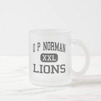 O P Norman - Lions - Junior - Kaufman Texas 10 Oz Frosted Glass Coffee Mug