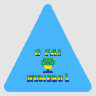 O Pai Número 1 - Number 1 Dad in Brazilian Triangle Sticker