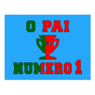 O Pai Número 1 - Number 1 Dad in Portuguese Postcard