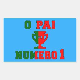 O Pai Número 1 - Number 1 Dad in Portuguese Rectangular Sticker