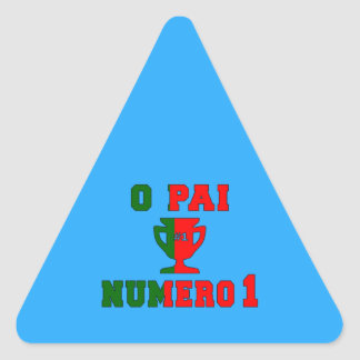O Pai Número 1 - Number 1 Dad in Portuguese Triangle Sticker