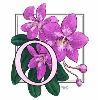 O para el monograma de la flor de las orquídeas fotoescultura vertical