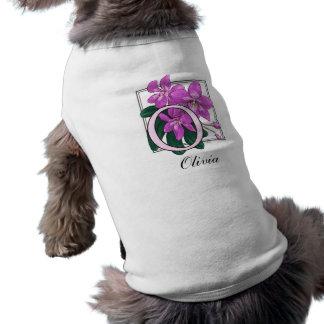 O para el monograma de la flor de las orquídeas playera sin mangas para perro