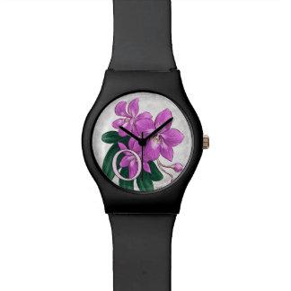 O para el monograma del alfabeto de la flor de la relojes
