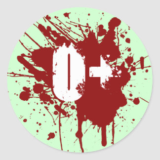 O Positive Blood Type Donation Vampire Zombie Classic Round Sticker