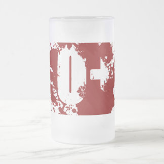 O Positive Blood Type Donation Vampire Zombie Frosted Glass Beer Mug