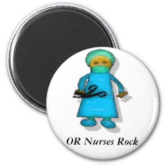 O roca de las enfermeras imán redondo 5 cm