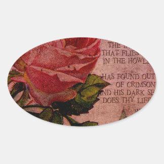 O Rose Thou Art Sick Oval Sticker