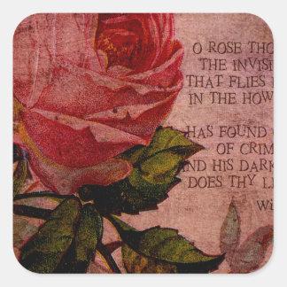 O Rose Thou Art Sick Square Sticker