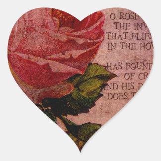 O Rose Thou Art Sick Heart Sticker