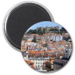 O Rossio e a Colina do Castelo, Lisboa, Portugal Imán Redondo 5 Cm