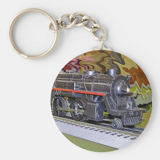 O Scale Model Train Basic Round Button Keychain