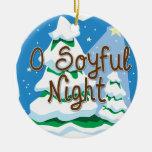 O Soyful Night Double-Sided Ceramic Round Christmas Ornament