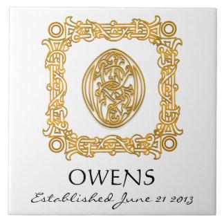 """O"" Surname Wedding Anniversary Day Monogram Tile"