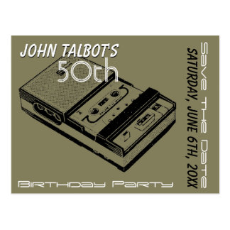 O Tape Recorder 50th birthday Party Save the Date Postcard