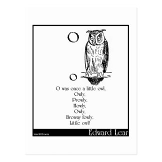 O was once a little owl postcard