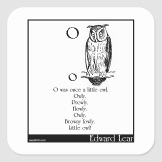 O was once a little owl square sticker