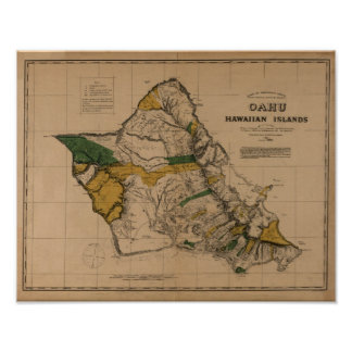 Oahu, 1881, mapa de Hawaii del vintage Posters