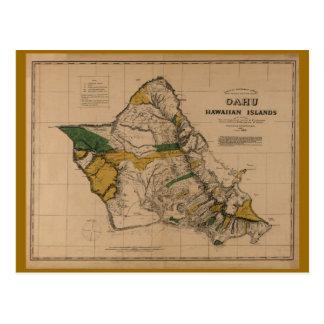 Oahu, 1881, mapa de Hawaii del vintage Postales