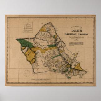 Oahu, 1881, mapa de Hawaii del vintage Póster