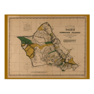 Oahu, 1881, mapa de Hawaii del vintage Tarjeta Postal