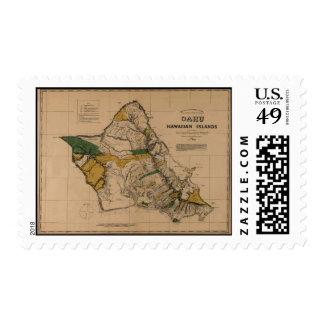 Oahu, 1881, Vintage Hawaii Map Stamp