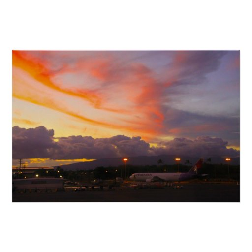 Oahu Airport Sunset Poster
