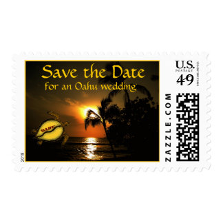 Oahu Beach Shoreline Wedding Save the Date Postage