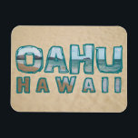 """Oahu Hawaii Beach Photo Text Magnet<br><div class=""""desc"""">Enjoy this Oahu Hawaii text with ocean and beach background!   &#127754;&#127754;&#127754;&#127754;&#127754; → &#169; HawaiiSands Designs &#128247; tag #ShopHawaiiSands online ♥ Message me directly for any customization to this design!</div>"""