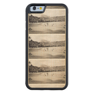 Oahu Hawaii Black & White Photograph Tile Carved® Maple iPhone 6 Bumper Case