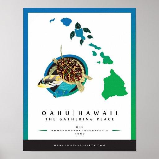 Oahu Hawaii - el lugar de acopio Póster
