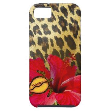 Hawaiian Themed Oahu Hawaii Hibiscus on Leopard Fur Print iPhone SE/5/5s Case