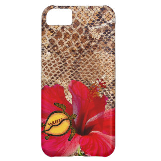 Oahu Hawaii Hibiscus on Snakeskin Case For iPhone 5C
