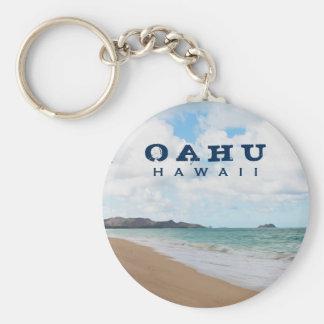 Oahu Hawaii Ocean Waves & Beach Keychain