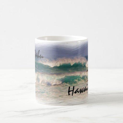 Oahu Hawaii ocean waves mug