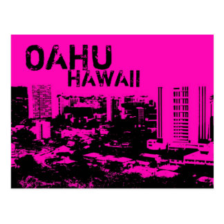 Oahu Hawaii pink punk art city design postcard