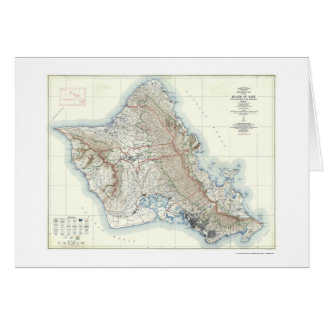 Oahu Hawaii Topographical Map 1938 Card