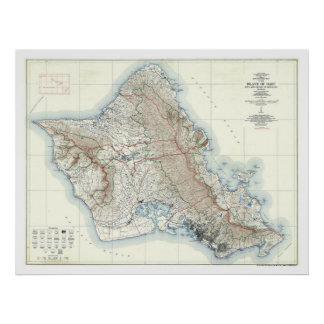 Oahu Hawaii Topographical Map 1938 Poster