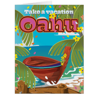 Oahu Holiday travel poster Card