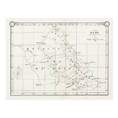 Oahu Island, Hawaii, Vintage Map 1887 Postcard at Zazzle