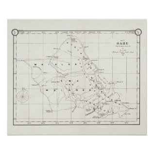 Oahu Island, Hawaii, Vintage Map 1887 Poster at Zazzle